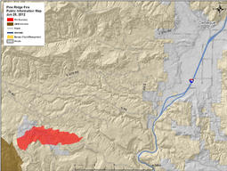 June 28, 2012 map of Pine Ridge Fire, Mesa County, Colorado.