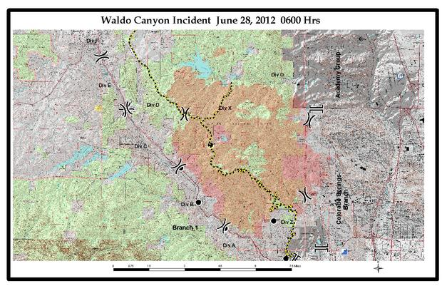 Waldo Canyon Fire map, June 28, 2012.
