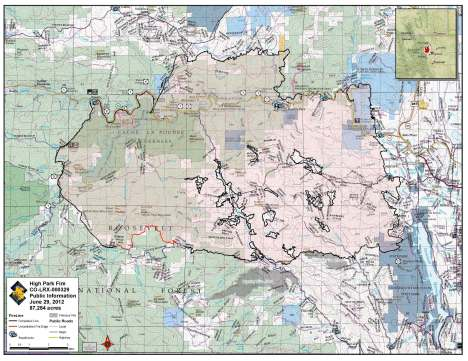 High Park Fire map, June 29, 2012.