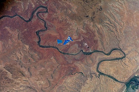 A NASA satellite captured this image of the Colorado River flowing through Utah.
