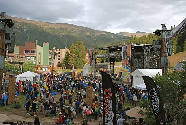 Tourists gather at a summer music festival at Copper Mountain, Colorado. PHOTO BY BOB BERWYN.