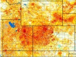 This map shows vegetation conditions, with the darker orange colors indicating dry conditions, a critical factor in fire potential.
