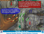 This weather graphic from the Grand Junction NWS perfectly illustrates how the monsoon flow delivers moisture to Colorado.