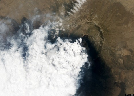 A NASA satellite captures a view of the smoke billowing from the Nabro Volcano in Ethiopia during a June 2011 eruption.