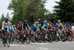 Riders jockey for position during a parade lap around Breckenridge, Colorado before the start of Stage 5 of the 2012 USA Pro Cycling Challenge.