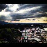 A classic evening view of Salzburg, boosted with Instagram filters.