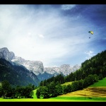 A nice backdrop for some paragliding in the Austrian Alps.