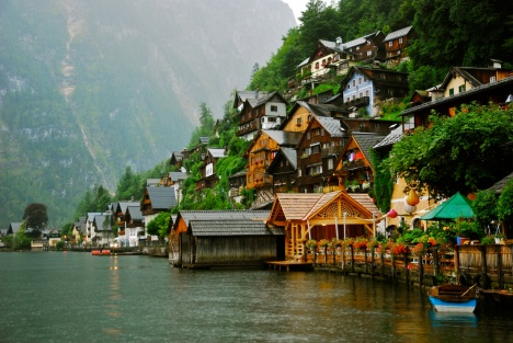 Actually, this is not an iPhone shot. During a rainy stroll in Hallstatt, I kept the Nikon wrapped in a plastic bag, sneaking it out for a couple of quick shots when the downpour let up.