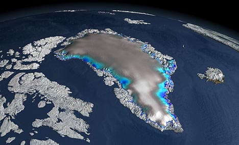 How fast will the Greenland Ice Sheet melt? Map courtesy Change in Elevation over Greenland ICESat's precise elevation change measurements, combined with information from other technologies, are producing a comprehensive look at the behavior of Earth's ice sheets -- critical for quantifying forecasts of sea level rise. Scientists used ICESat data to show changes in elevation over the Greenland ice sheet between 2003 and 2006. White regions indicate a slight thickening, while the blue shades indicate a thinning of the ice sheet. Gray indicates areas where no change in elevation was measured.  Credit: NASA Goddard's Scientific Visualization Studio