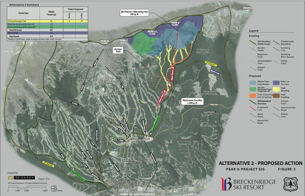A map for the proposed alternative from the USFS Record of Decision outlines the Peak 6 expansion.