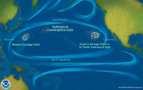 Patches of plastic debris accumulate where they are concentrated by ocean currents.