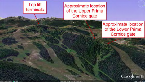 A Google Earth view shows the location of the two gates on Prima Cornice. IMAGE COURTESY GOOGLE EARTH/CAIC.