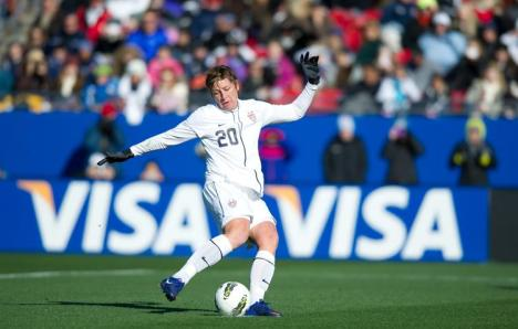 Abby Wambach in a Feb. 11, 2012 match against New Zealand. Photo courtesy U.S. Soccer.