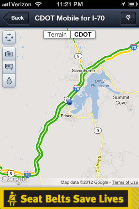 A map page on the smart phone I-70 app shows your exact location along the corridor.