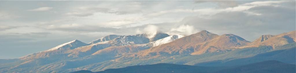 Breckenridge ski resort peaks seen from Dillon, Colorado.
