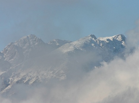 Gore Range through the morning mist.