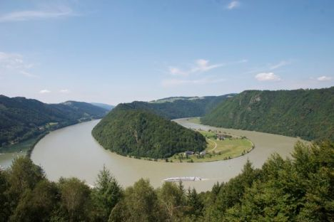Just upstream of Linz, the Danube nearly doubles back on itself, still trying to carve its way through a cliff of solid granite.