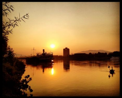 Sunrise over the Danube.