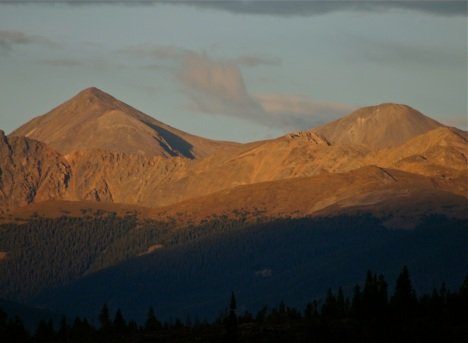 Summit County's twin towers, Grays and Torreys, along the Continental Divide.