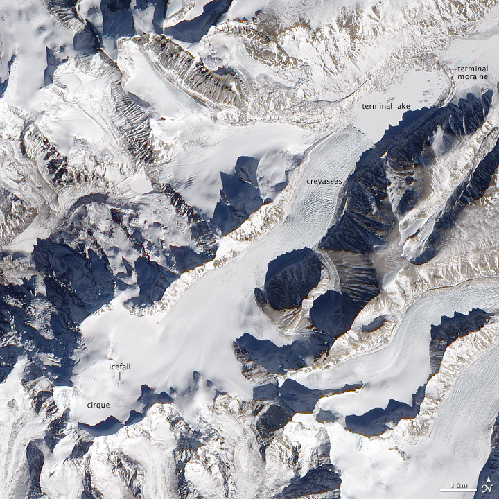 Scientists are trying to pinpoint the impacts of global warming on Himalayan glaciers and regional water supplies. Photo courtesy Nasa Earth Observatory.