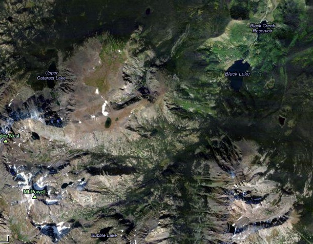 Hunters reported as missing by their family were found between Black Lake (upper right) and Mt. Powell (lower left).