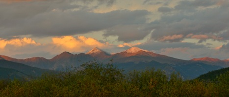 Alpenglow on snowy peaks heralds the change of the seasons.