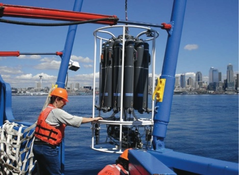 Sampling Puget Sound waters aboard an EPA ship. Photo courtesy NOAA.