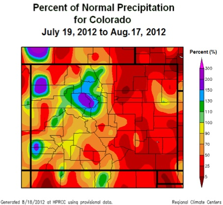 Summer precipitation was below average across almost all of Colorado. Graphic courtesy National Weather Service.