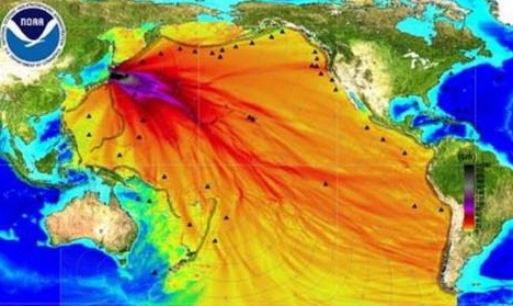 A NOAA map shows the paths of the energy generated by the March 2011 tsunami that devastated parts of Japan.