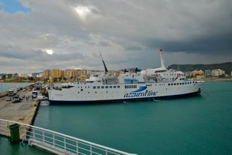 Ferries in the Vlore harbor.