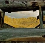Looking out at the Tenmile Range through the window of an old miners cabin near Copper Mountain, Colorado.