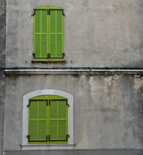 Shuttered windows in Brignoles, France.
