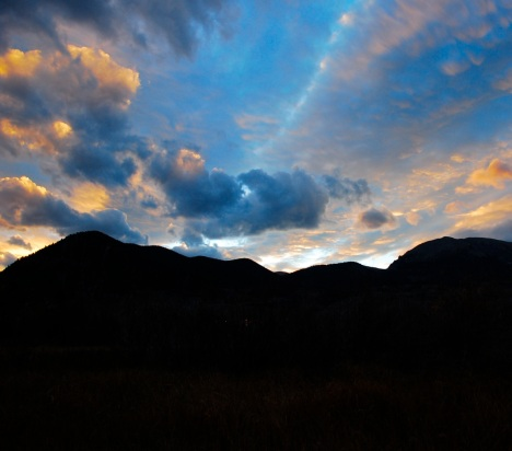 Sunset clouds over Mt. Royal, Frisco, Colorado.