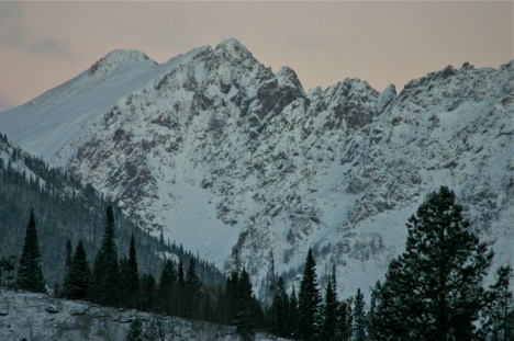 Dawn light on the Gore Range.