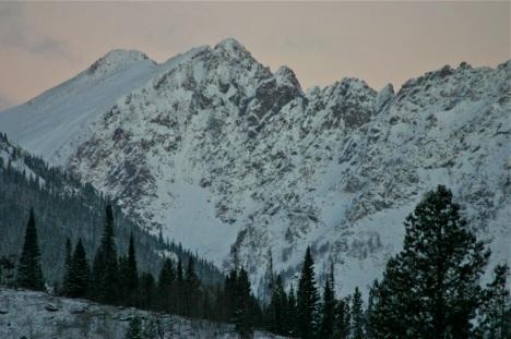 Dawn light on the Gore Range.