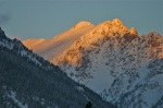 Golden sunlight on snow-covered peaks. What could be better?