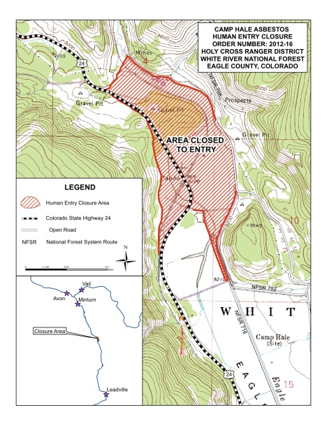 About 300 acres in the Camp Hale area are closed to human use pending a cleanup of asbestos-containing material.