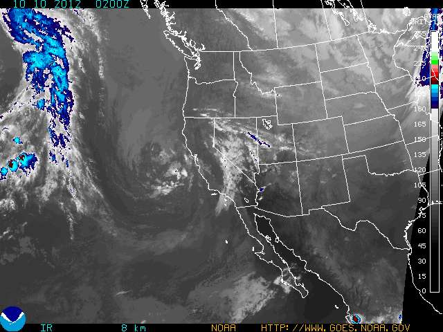 A NOAA satellite image nicely shows the developing storm off the coast of California.