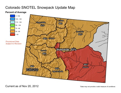 Statewide snowpack conditions as of Nov. 20.