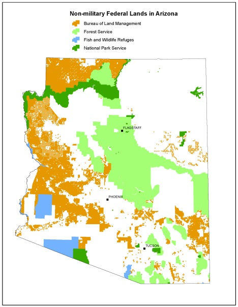 Arizona voters rejected a bid by some special interest groups to claim control over 27 million acres of federally managed public lands. Map courtesy Center for Biological Diversity.