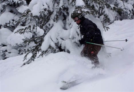 "Dylan shreds a ""secret"" powder stash at Vali, Colorado, a few years ago."