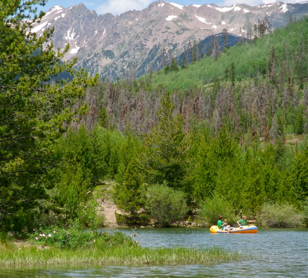 A tiny cove along the shore of busy Dillon Reservoir, just 10 minutes from our hours, is our secret getaway for a quick flatwater rafting session.