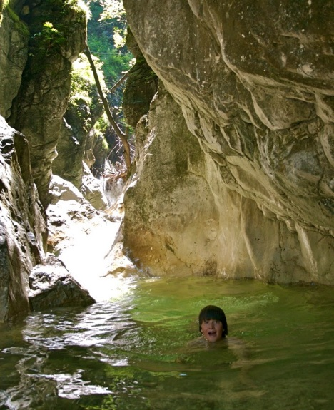 Hiking through a narrow gorge in the limestone Alps of Austria, we discovered a secret swimming hole.