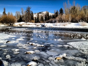 A wintry icescape along the Blue River north of Silverthorne, Colorado.
