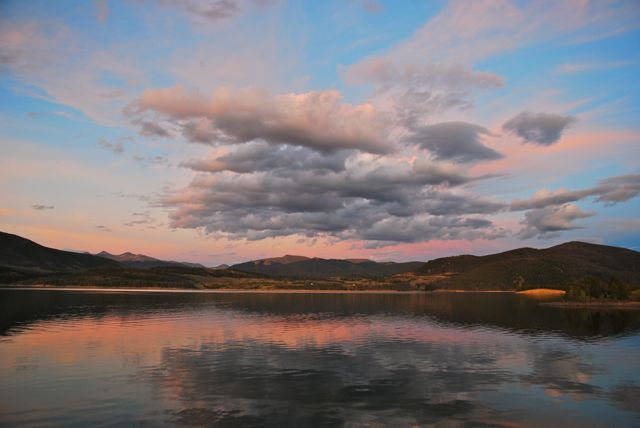 Sunset clouds over Dillon Reservoir in Summit County Colorado