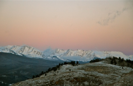 Fresh snow on the Gore Range by the light of a wintry dawn.