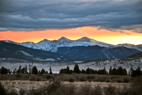Sunrise over Grays and Torreys peaks, Summit County, Colorado