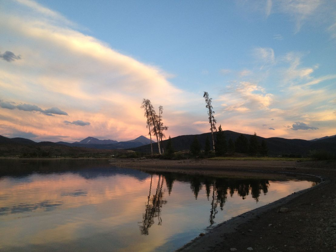 Sunset along the shore of Dillon Reservoir.