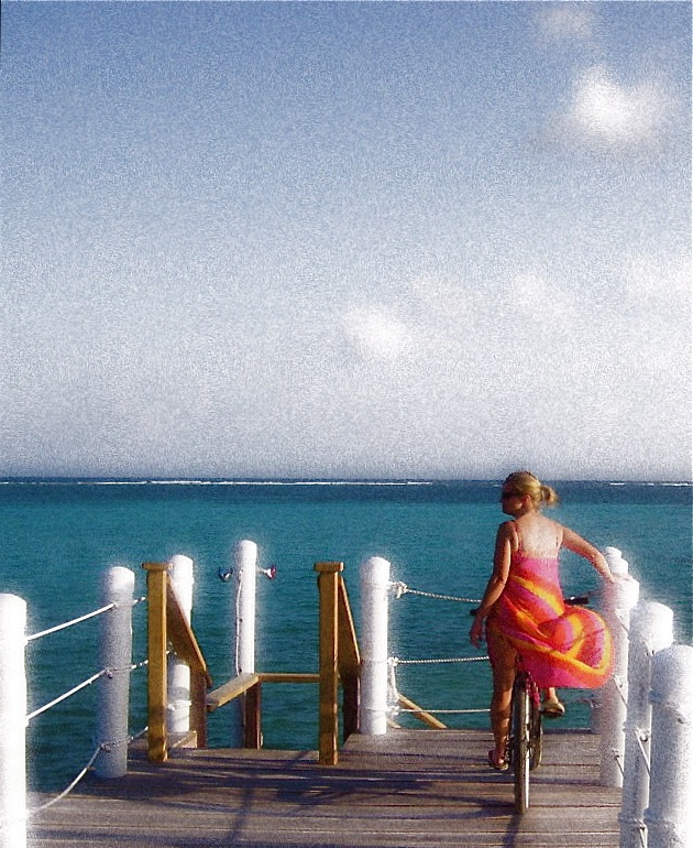 @CoTravGirl enjoys a view of the Caribbean from Ambergris Caye, Belize.