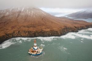 Shell Oil's Arctic drill rig, Kulluk, stranded near Kodiak Island, Alaska